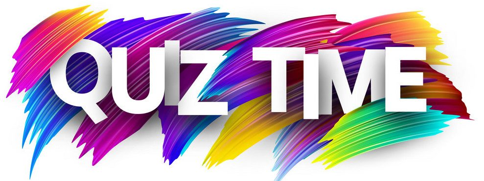 Quiz time banner. Colorful brush design. Vector background.